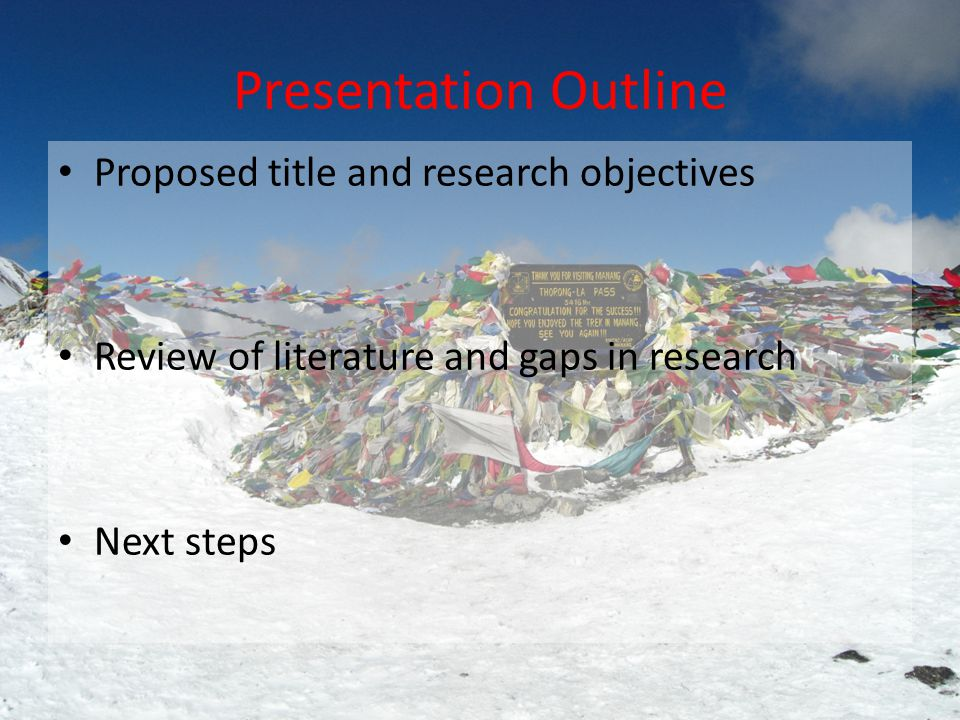 Presentation Outline Proposed title and research objectives Review of literature and gaps in research Next steps