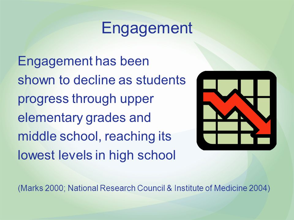 Importance of School Engagement When students are not engaged they are… less likely to stay in school less likely to achieve more likely to have discipline issues National Center for School Engagement http://www.schoolengagement.org/TruancypreventionRegistry/Admin/Resources/Resources/2006NCSESummitforLeadersinSchoolEngagement.pdf