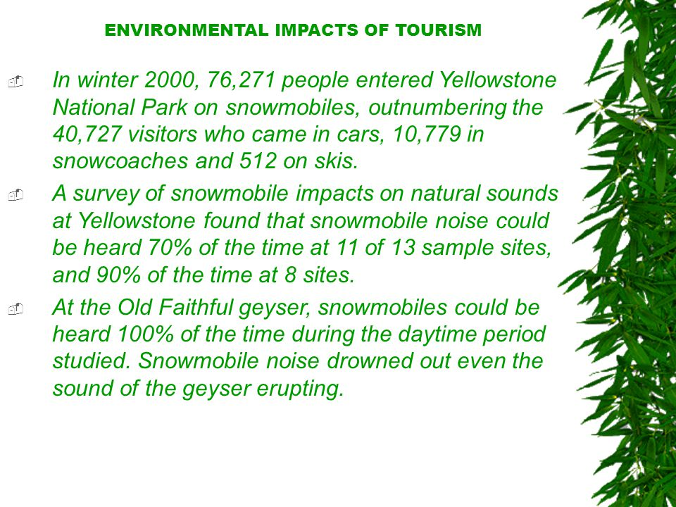 ENVIRONMENTAL IMPACTS OF TOURISM  In winter 2000, 76,271 people entered Yellowstone National Park on snowmobiles, outnumbering the 40,727 visitors who came in cars, 10,779 in snowcoaches and 512 on skis.