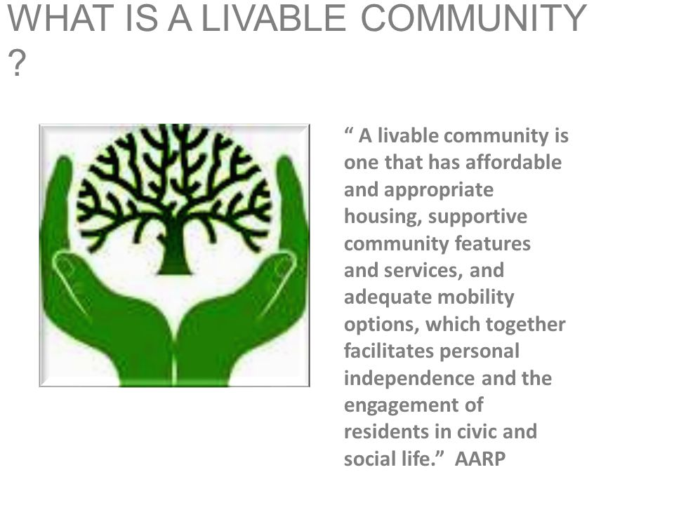 WHAT IS A LIVABLE COMMUNITY .