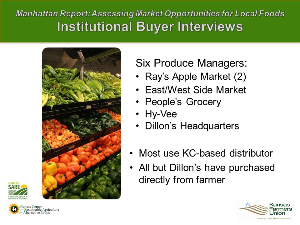 Six Produce Managers: Ray's Apple Market (2) East/West Side Market People's Grocery Hy-Vee Dillon's Headquarters Most use KC-based distributor All but Dillon's have purchased directly from farmer