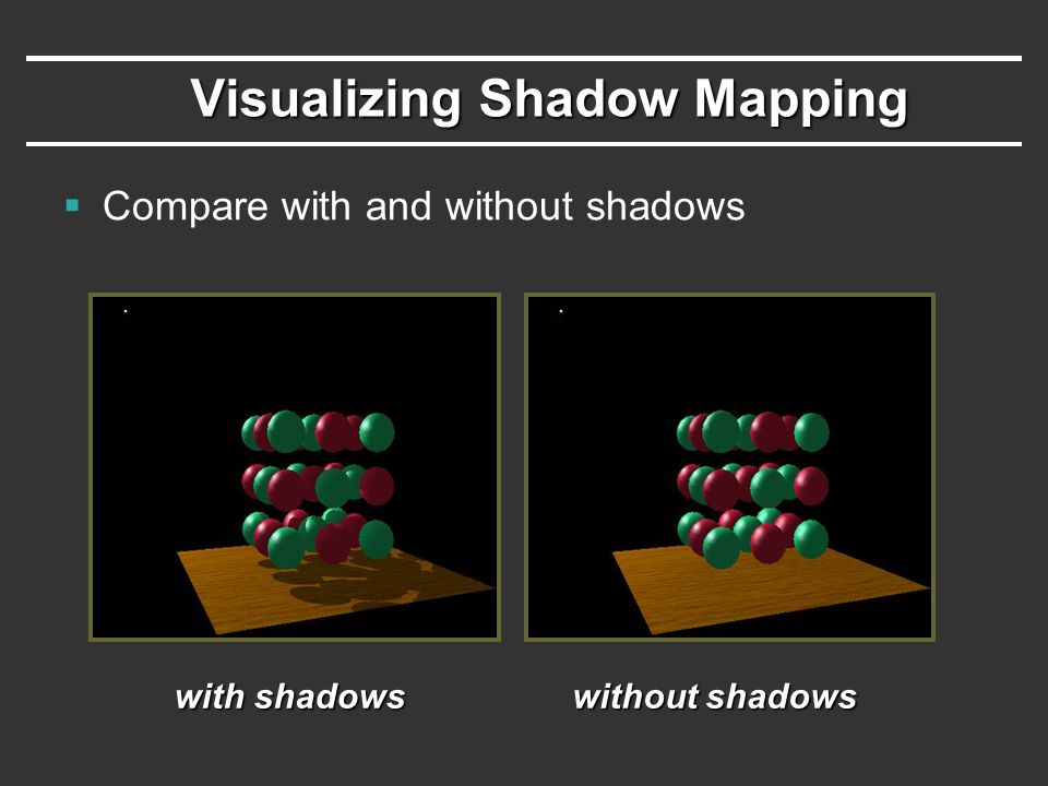 Visualizing Shadow Mapping  Compare with and without shadows with shadows without shadows