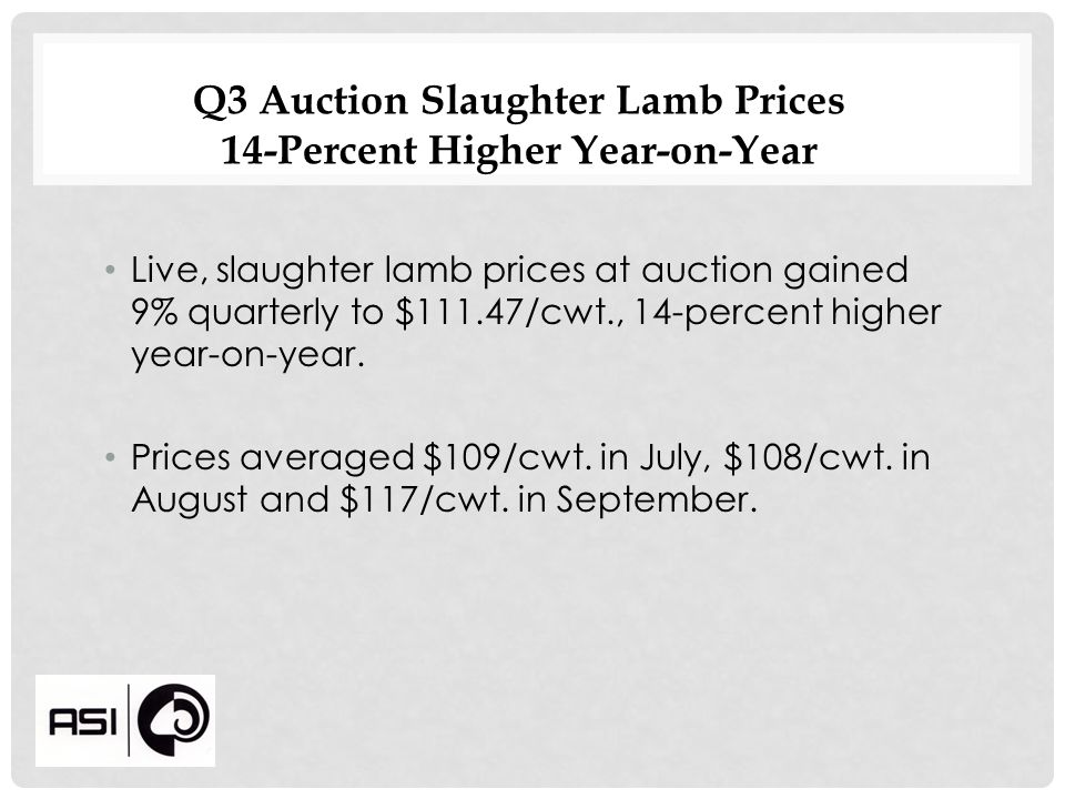 Q3 Auction Slaughter Lamb Prices 14-Percent Higher Year-on-Year Live, slaughter lamb prices at auction gained 9% quarterly to $111.47/cwt., 14-percent higher year-on-year.