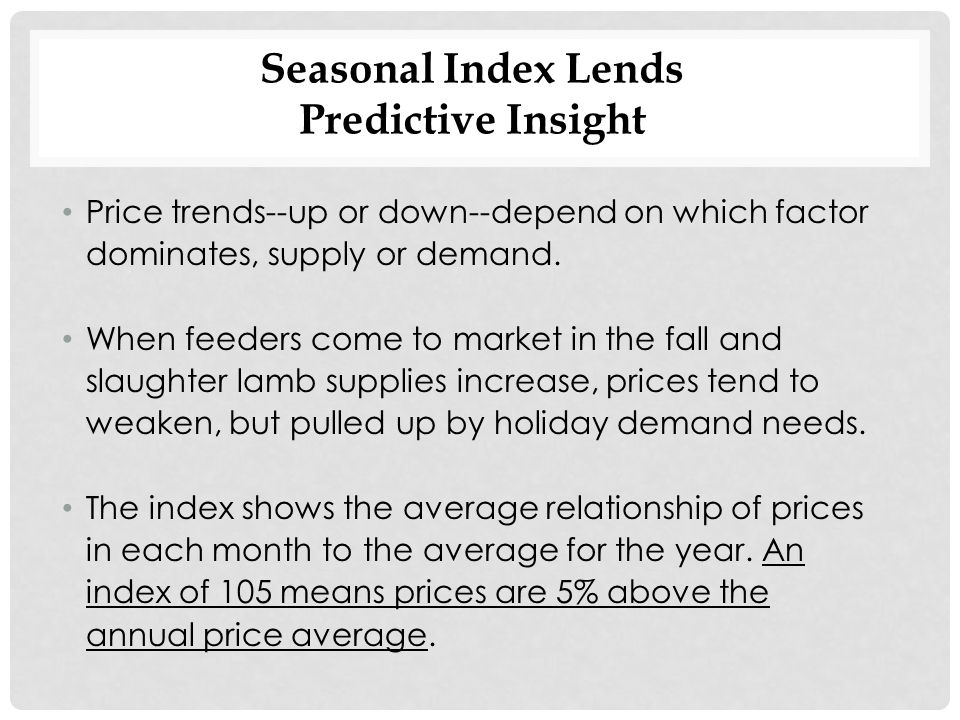 Seasonal Index Lends Predictive Insight Price trends--up or down--depend on which factor dominates, supply or demand.
