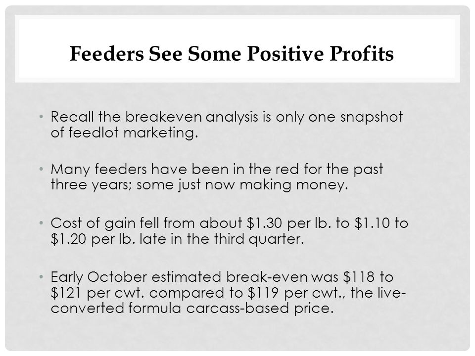 Feeders See Some Positive Profits Recall the breakeven analysis is only one snapshot of feedlot marketing.