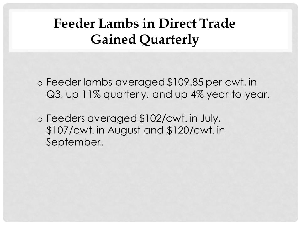 Pelts Down Quarterly and Year-to-Year Due to Lower Demand The stronger US$ contributed to the lower undertone in September, reducing the competitiveness of U.S.
