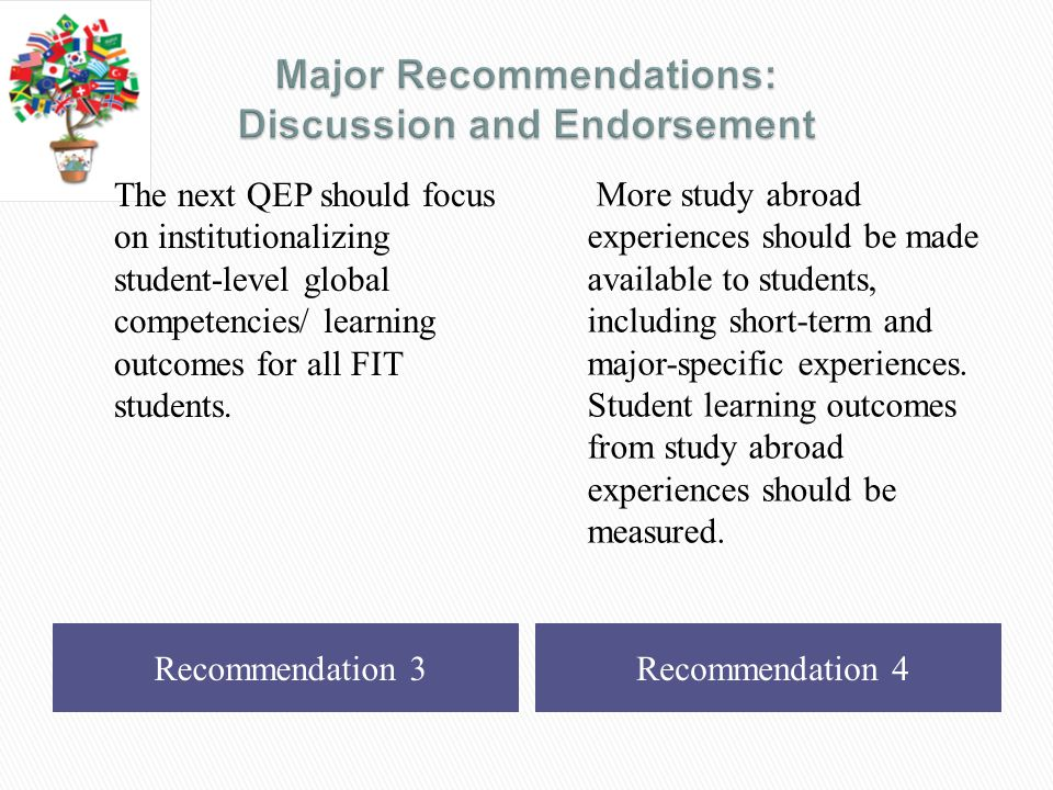 Recommendation 3Recommendation 4 The next QEP should focus on institutionalizing student-level global competencies/ learning outcomes for all FIT students.