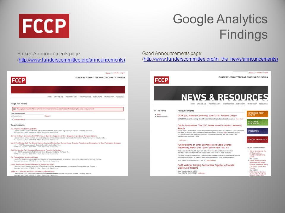Google Analytics Findings Broken Announcements page (http://www.funderscommittee.org/announcements)http://www.funderscommittee.org/announcements) Broken Good Announcements page (http://www.funderscommittee.org/in_the_news/announcements)http://www.funderscommittee.org/in_the_news/announcements)