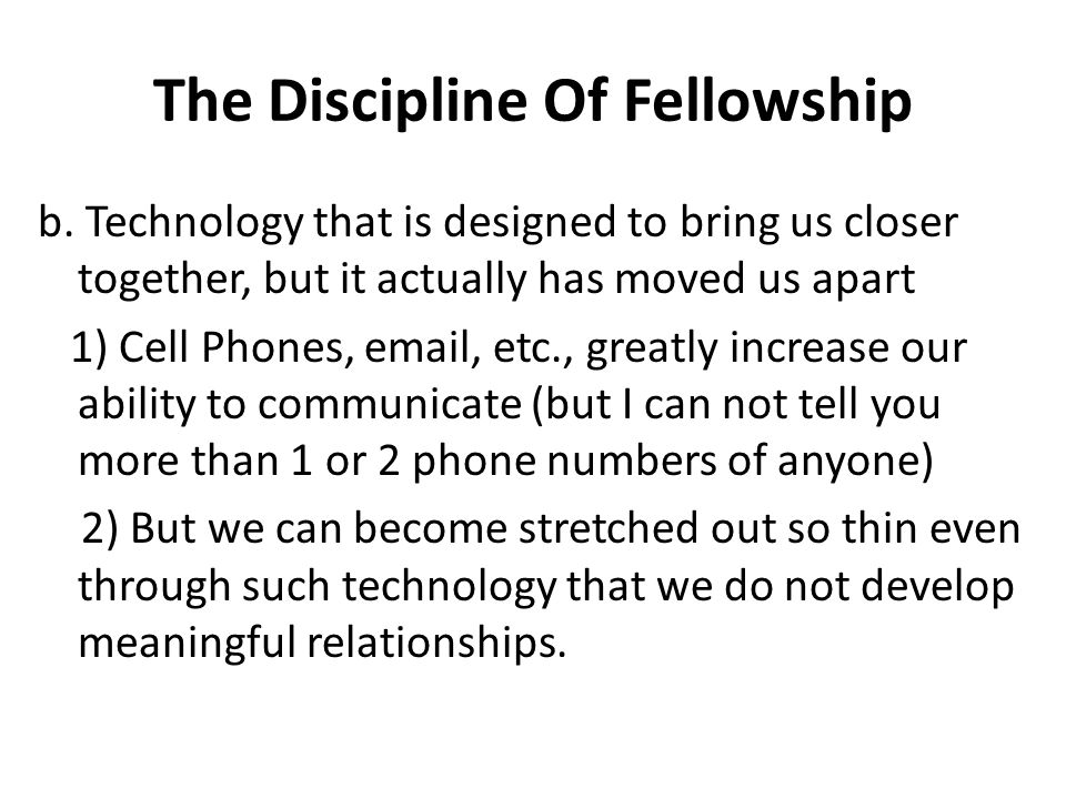 The Discipline Of Fellowship b.
