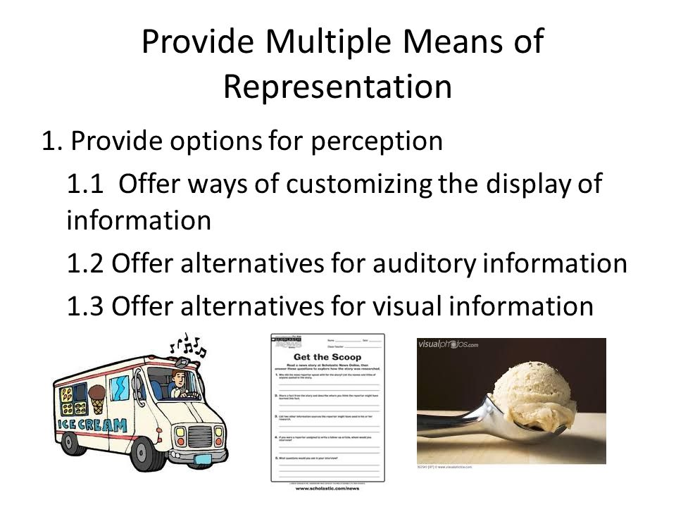 Provide Multiple Means of Representation 1.