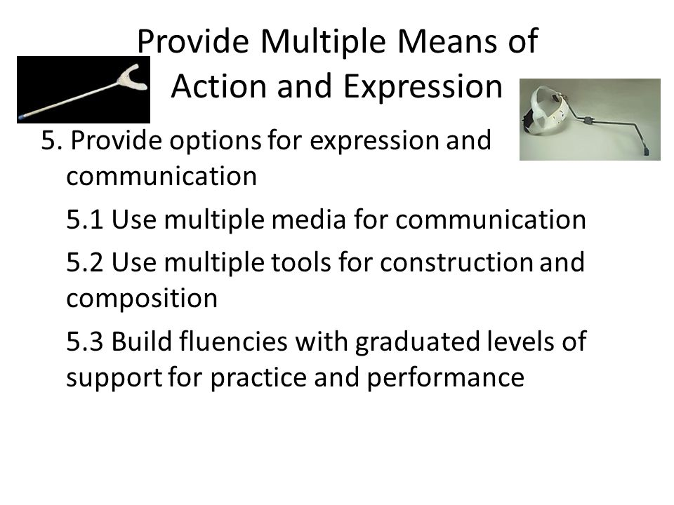 Provide Multiple Means of Action and Expression 5. Provide options for expression and communication 5.1 Use multiple media for communication 5.2 Use m