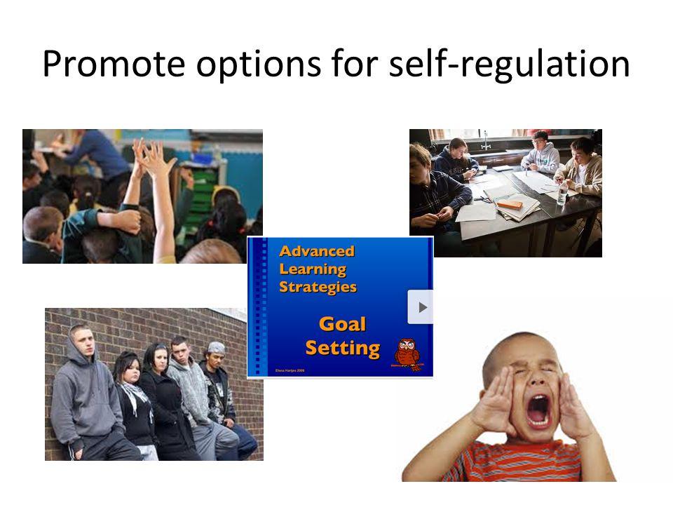 Promote options for self-regulation