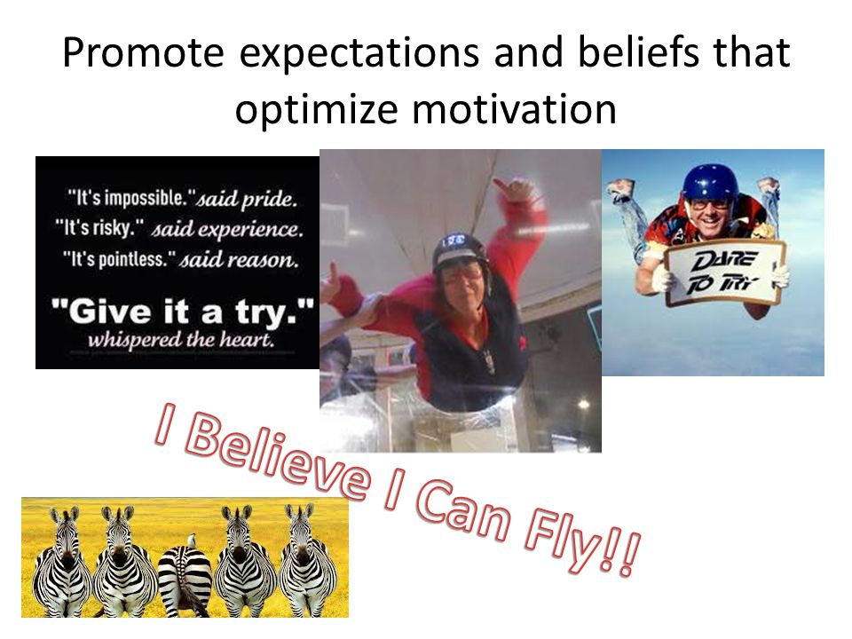 Promote expectations and beliefs that optimize motivation