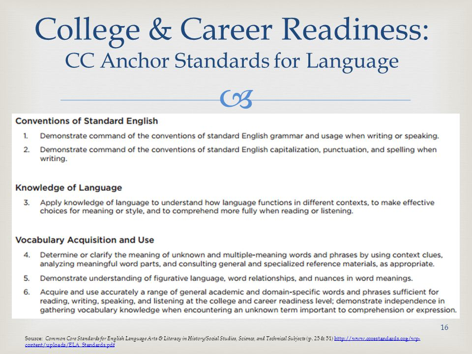  College & Career Readiness: CC Anchor Standards for Language 16 Source: Common Core Standards for English Language Arts & Literacy in History/Social Studies, Science, and Technical Subjects (p.