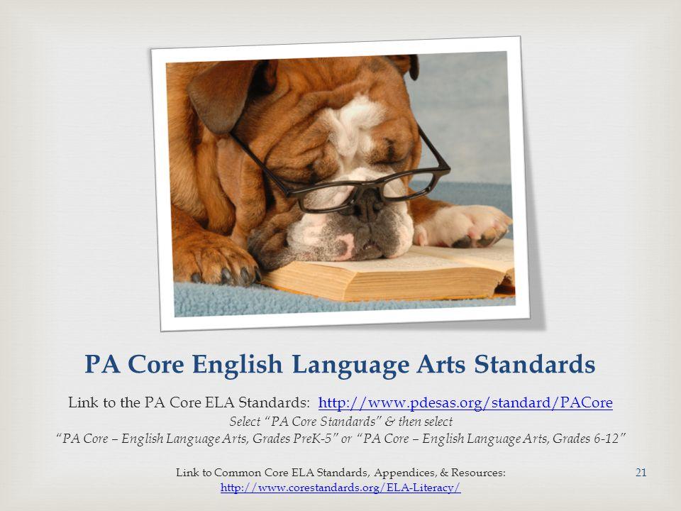 PA Core English Language Arts Standards Link to the PA Core ELA Standards: http://www.pdesas.org/standard/PACorehttp://www.pdesas.org/standard/PACore Select PA Core Standards & then select PA Core – English Language Arts, Grades PreK-5 or PA Core – English Language Arts, Grades 6-12 Link to Common Core ELA Standards, Appendices, & Resources: http://www.corestandards.org/ELA-Literacy/ 21