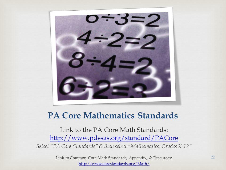 PA Core Mathematics Standards Link to the PA Core Math Standards: http://www.pdesas.org/standard/PACore http://www.pdesas.org/standard/PACore Select PA Core Standards & then select Mathematics, Grades K-12 Link to Common Core Math Standards, Appendix, & Resources: http://www.corestandards.org/Math/ 22