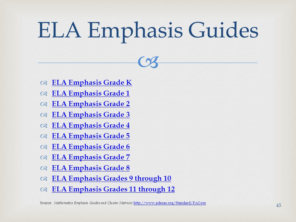   ELA Emphasis Grade K ELA Emphasis Grade K  ELA Emphasis Grade 1 ELA Emphasis Grade 1  ELA Emphasis Grade 2 ELA Emphasis Grade 2  ELA Emphasis Grade 3 ELA Emphasis Grade 3  ELA Emphasis Grade 4 ELA Emphasis Grade 4  ELA Emphasis Grade 5 ELA Emphasis Grade 5  ELA Emphasis Grade 6 ELA Emphasis Grade 6  ELA Emphasis Grade 7 ELA Emphasis Grade 7  ELA Emphasis Grade 8 ELA Emphasis Grade 8  ELA Emphasis Grades 9 through 10 ELA Emphasis Grades 9 through 10  ELA Emphasis Grades 11 through 12 ELA Emphasis Grades 11 through 12 Source: Mathematics Emphasis Guides and Cluster Matrices http://www.pdesas.org/Standard/PACore http://www.pdesas.org/Standard/PACore ELA Emphasis Guides 45