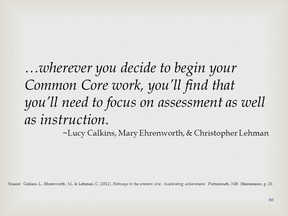 Source: Calkins, L., Ehrenworth, M., & Lehman, C.(2012).