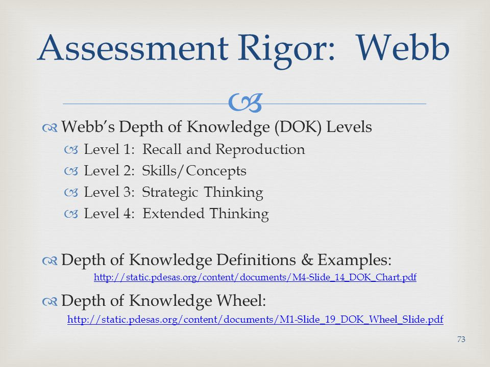   Webb's Depth of Knowledge (DOK) Levels  Level 1: Recall and Reproduction  Level 2: Skills/Concepts  Level 3: Strategic Thinking  Level 4: Extended Thinking  Depth of Knowledge Definitions & Examples: http://static.pdesas.org/content/documents/M4-Slide_14_DOK_Chart.pdf  Depth of Knowledge Wheel: http://static.pdesas.org/content/documents/M1-Slide_19_DOK_Wheel_Slide.pdf Assessment Rigor: Webb 73