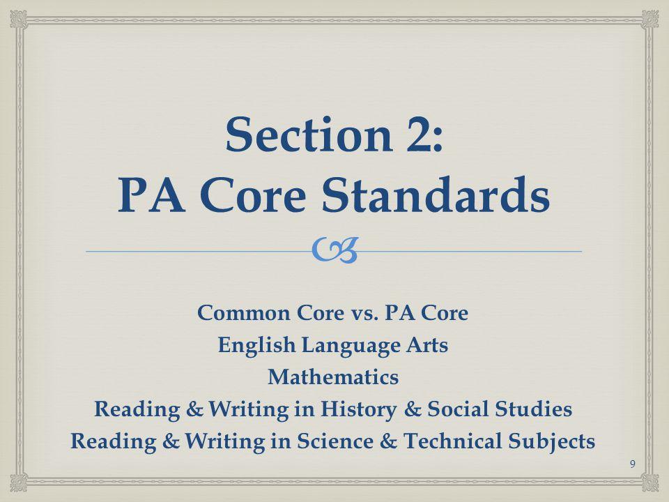  Section 2: PA Core Standards Common Core vs.