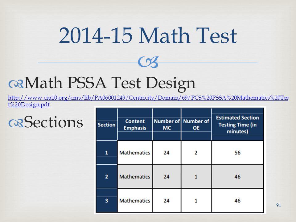   Math PSSA Test Design http://www.ciu10.org/cms/lib/PA06001249/Centricity/Domain/69/PCS%20PSSA%20Mathematics%20Tes t%20Design.pdf  Sections 2014-15 Math Test 91