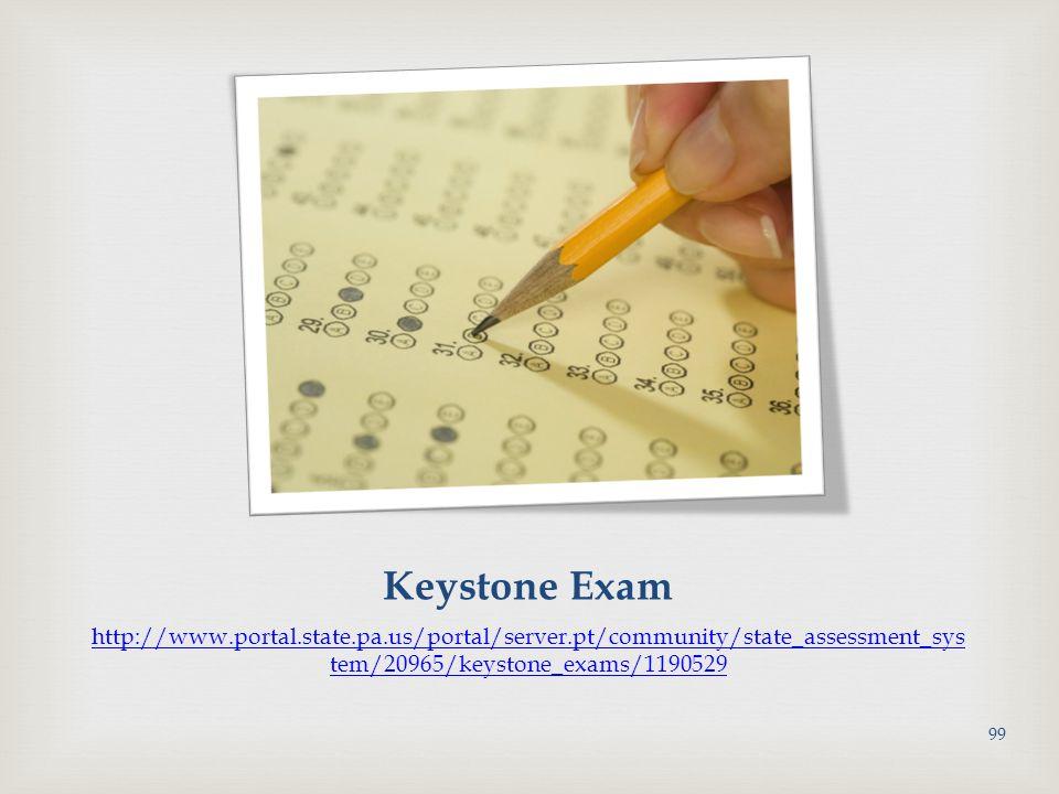 Keystone Exam http://www.portal.state.pa.us/portal/server.pt/community/state_assessment_sys tem/20965/keystone_exams/1190529 99