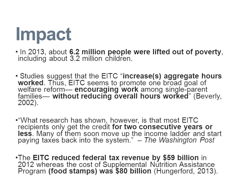 Impact In 2013, about 6.2 million people were lifted out of poverty, including about 3.2 million children.