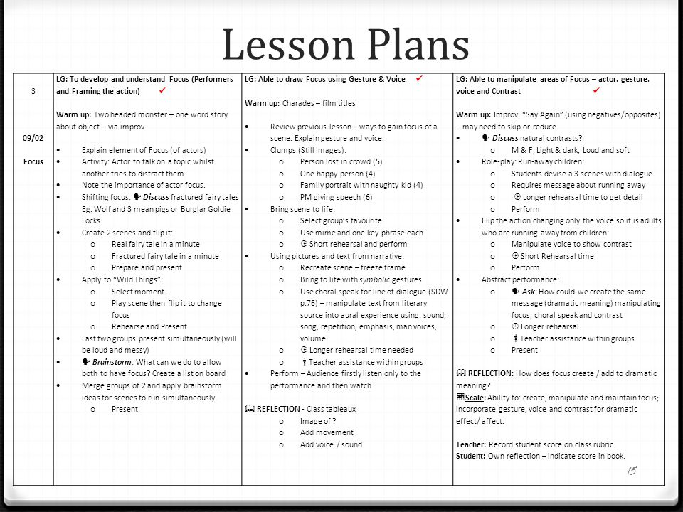 Lesson Plans 3 09/02 Focus LG: To develop and understand Focus (Performers and Framing the action) Warm up: Two headed monster – one word story about
