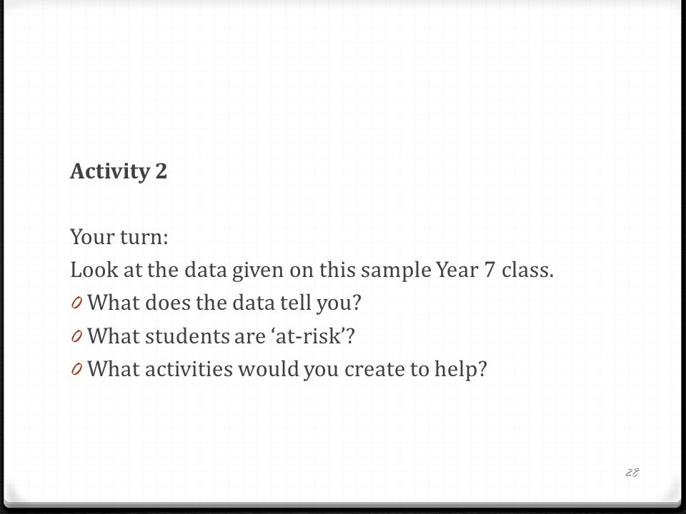Activity 2 Your turn: Look at the data given on this sample Year 7 class.
