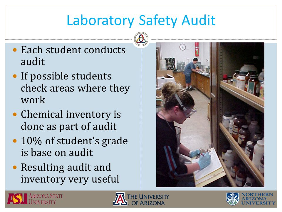Laboratory Safety Audit Each student conducts audit If possible students check areas where they work Chemical inventory is done as part of audit 10% of student's grade is base on audit Resulting audit and inventory very useful