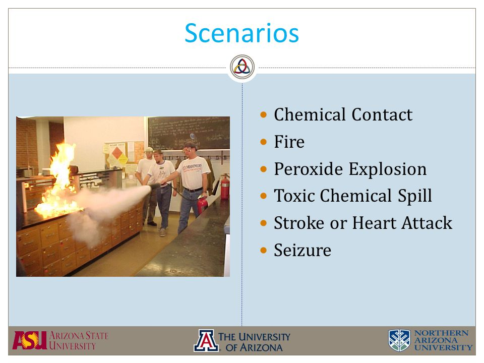 Scenarios Chemical Contact Fire Peroxide Explosion Toxic Chemical Spill Stroke or Heart Attack Seizure