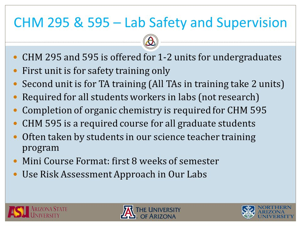CHM 295 & 595 – Lab Safety and Supervision CHM 295 and 595 is offered for 1-2 units for undergraduates First unit is for safety training only Second unit is for TA training (All TAs in training take 2 units) Required for all students workers in labs (not research) Completion of organic chemistry is required for CHM 595 CHM 595 is a required course for all graduate students Often taken by students in our science teacher training program Mini Course Format: first 8 weeks of semester Use Risk Assessment Approach in Our Labs
