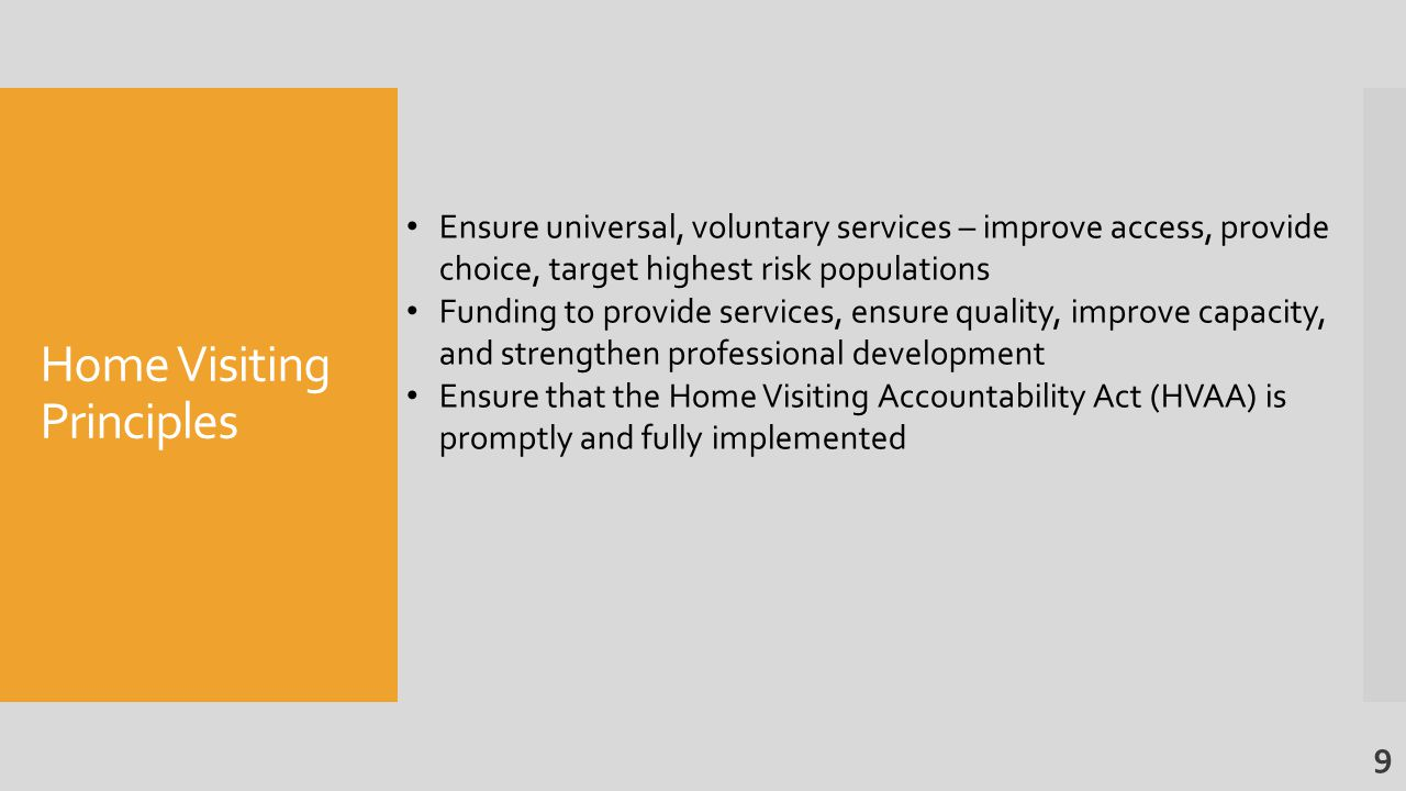 Home Visiting Principles Ensure universal, voluntary services – improve access, provide choice, target highest risk populations Funding to provide services, ensure quality, improve capacity, and strengthen professional development Ensure that the Home Visiting Accountability Act (HVAA) is promptly and fully implemented 9