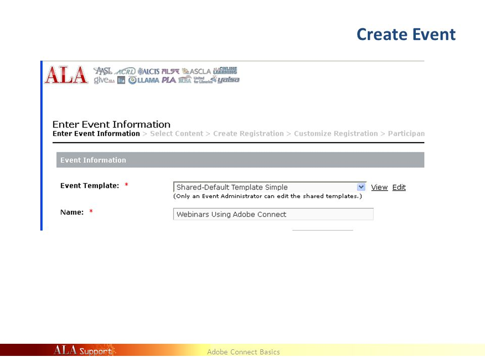 Adobe Connect Basics Create Event