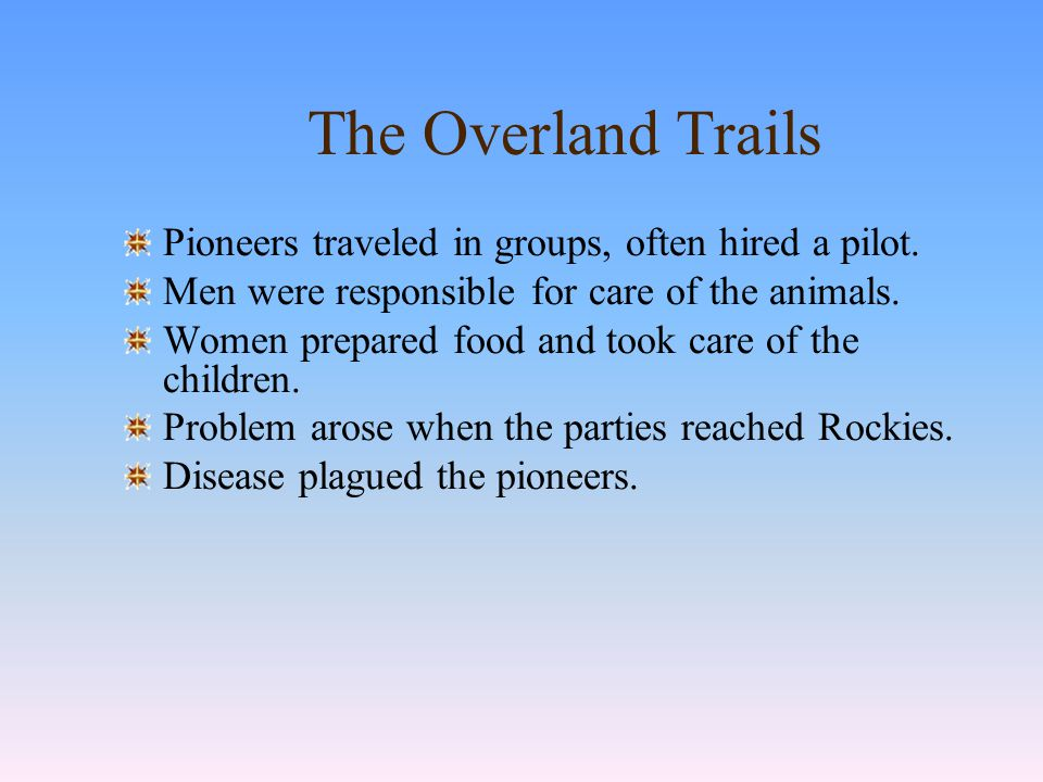 MAP 14.3 The Overland Trails, 1840 All the great trails west started at the Missouri River.
