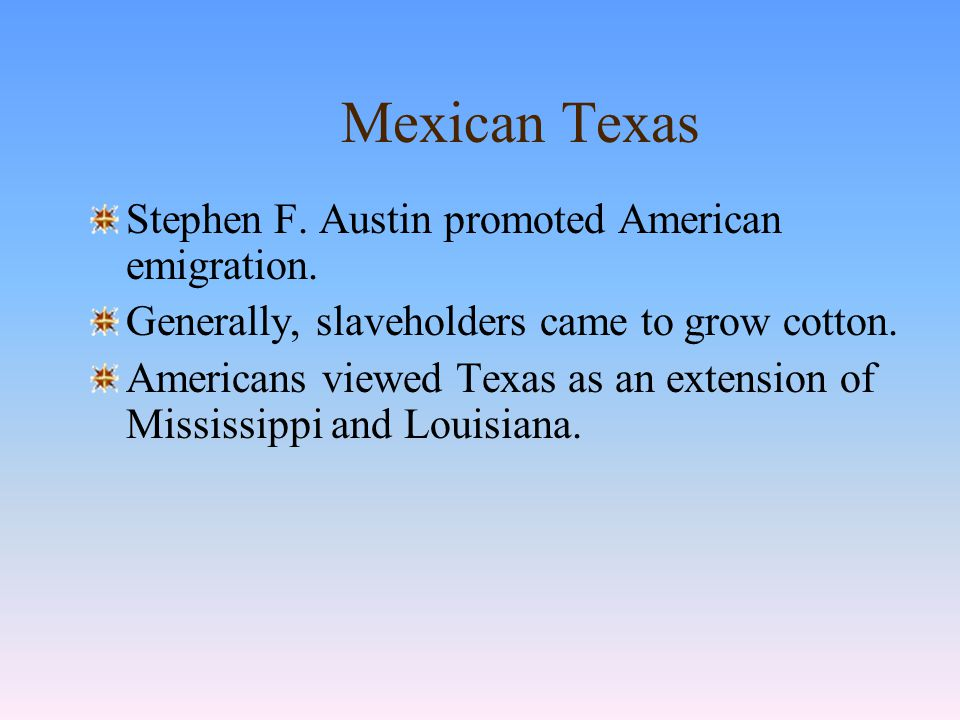 Mexican Texas In Texas, multiethnic settlements revolved around the presidio, mission, and rancho.