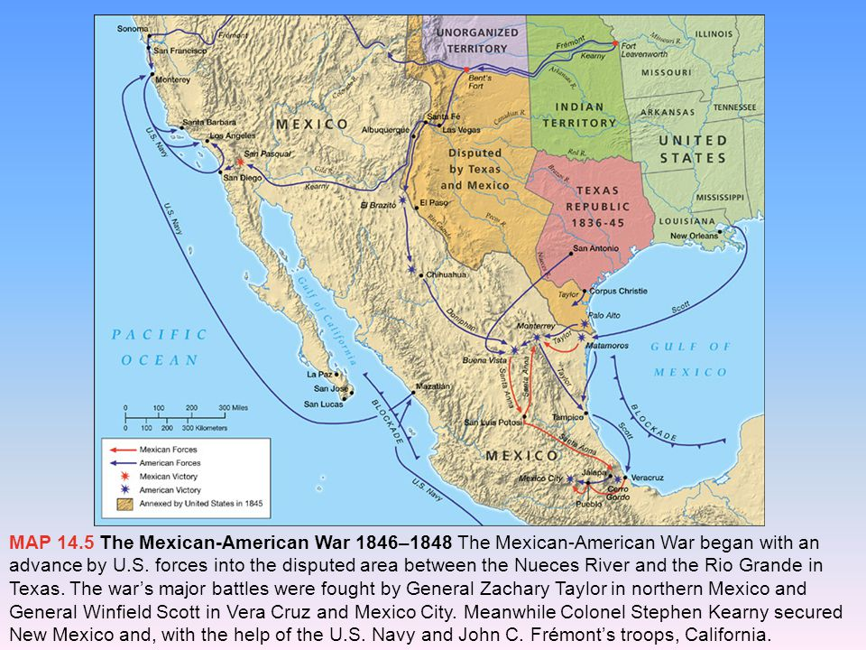 The Mexican-American War Maps: The Mexican-American War, 1846– 1848 Polk planned the war strategy He sent troops into the northern provinces of Mexico New Mexico and California were conquered.