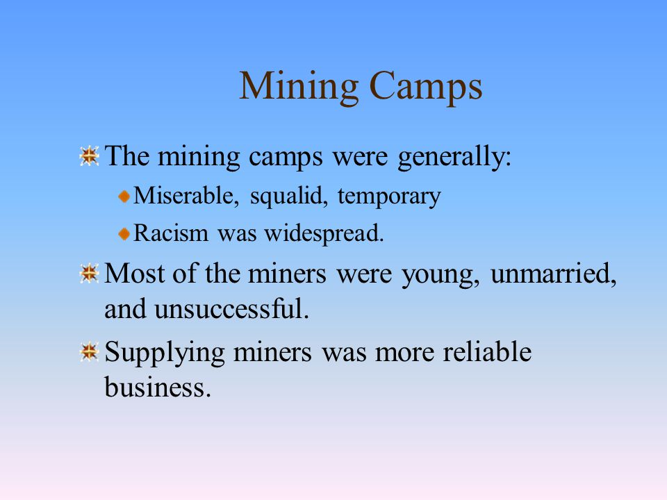 The Chinese Miners The Chinese first came to California in 1849.