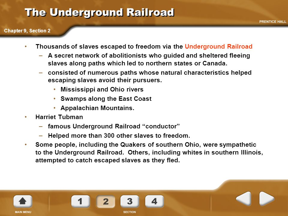 The Underground Railroad Thousands of slaves escaped to freedom via the Underground Railroad –A secret network of abolitionists who guided and shelter