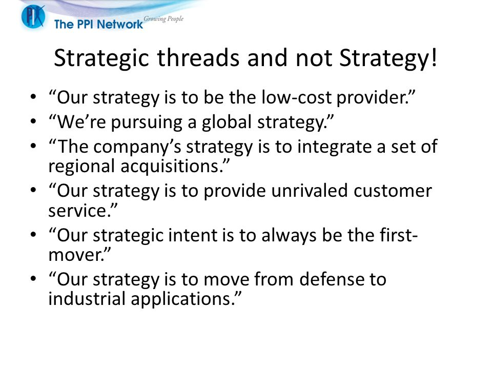 Strategic threads and not Strategy.
