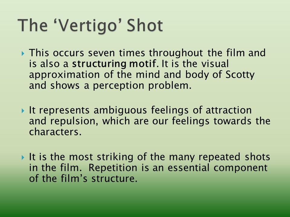  This occurs seven times throughout the film and is also a structuring motif.