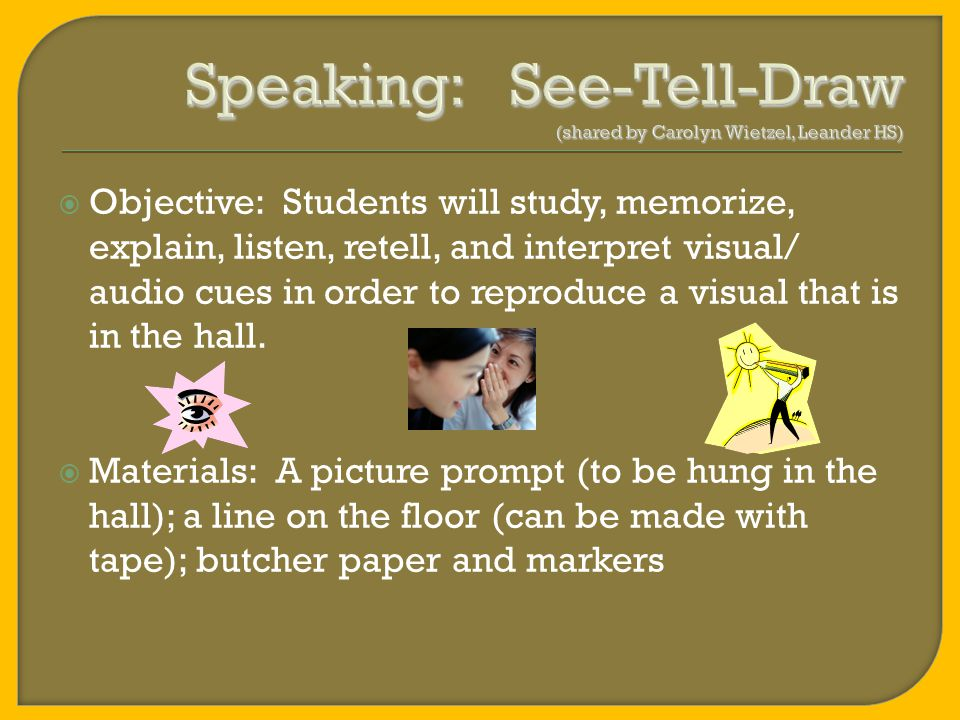 Meaningful Speaking Activities
