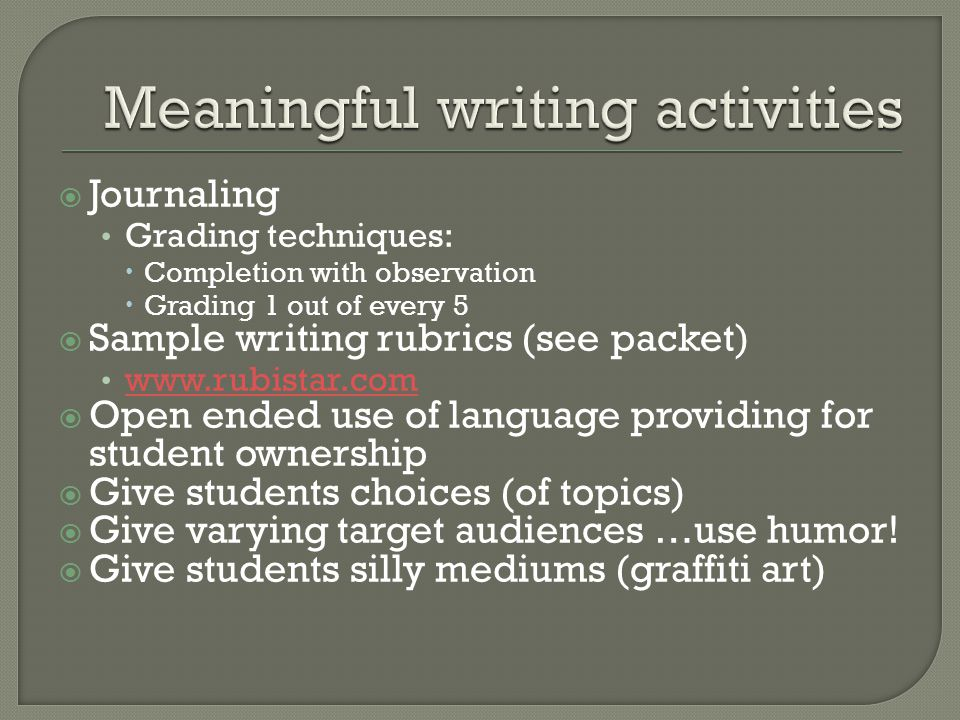Meaningful Writing Activities