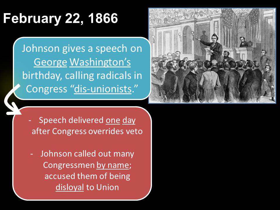 """February 22, 1866 Johnson gives a speech on George Washington's birthday, calling radicals in Congress """"dis-unionists."""" -Speech delivered one day afte"""