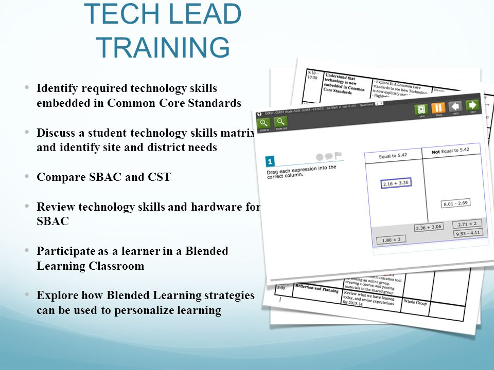 TECH LEAD TRAINING Identify required technology skills embedded in Common Core Standards Discuss a student technology skills matrix and identify site