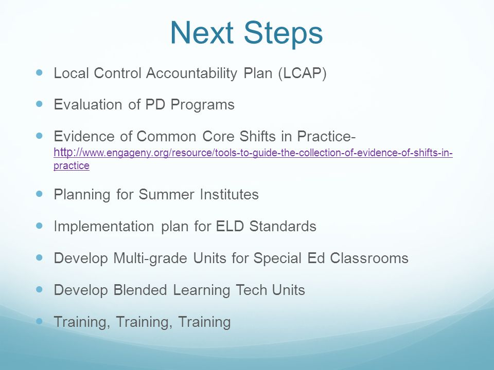 Next Steps Local Control Accountability Plan (LCAP) Evaluation of PD Programs Evidence of Common Core Shifts in Practice- http:// www.engageny.org/res