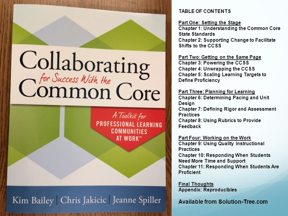 TABLE OF CONTENTS Part One: Setting the Stage Chapter 1: Understanding the Common Core State Standards Chapter 2: Supporting Change to Facilitate Shif