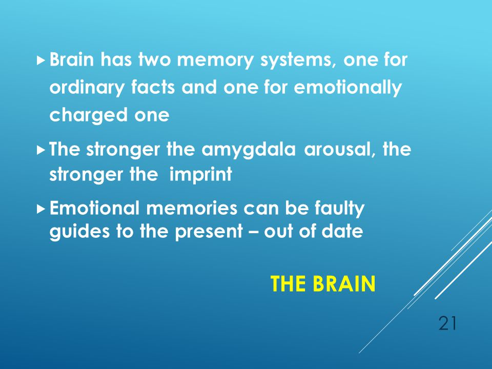 THE BRAIN 21  Brain has two memory systems, one for ordinary facts and one for emotionally charged one  The stronger the amygdala arousal, the stronger the imprint  Emotional memories can be faulty guides to the present – out of date
