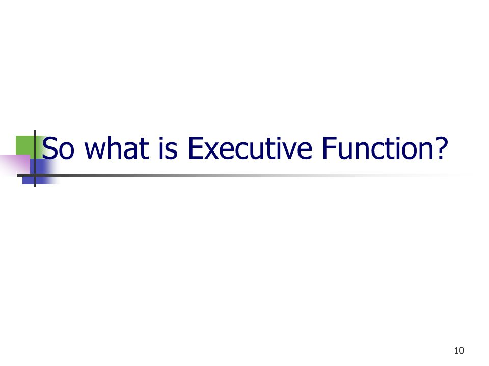 10 So what is Executive Function