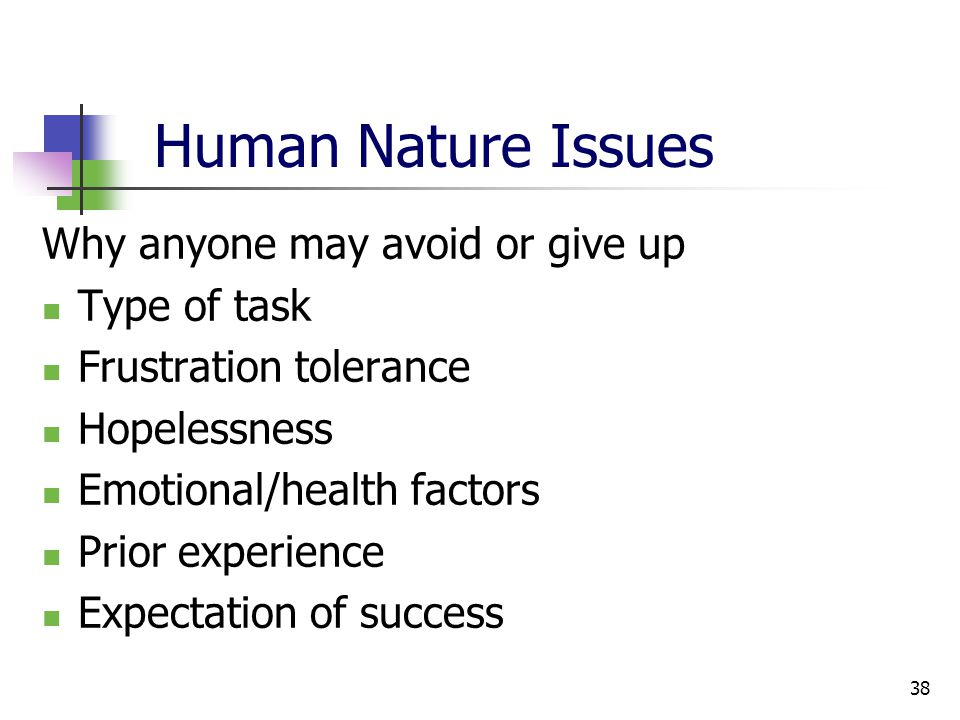 38 Human Nature Issues Why anyone may avoid or give up Type of task Frustration tolerance Hopelessness Emotional/health factors Prior experience Expectation of success